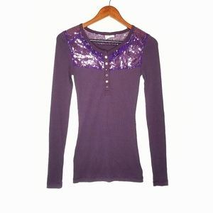 Free People Thermal Henley Purple Sequin Lace